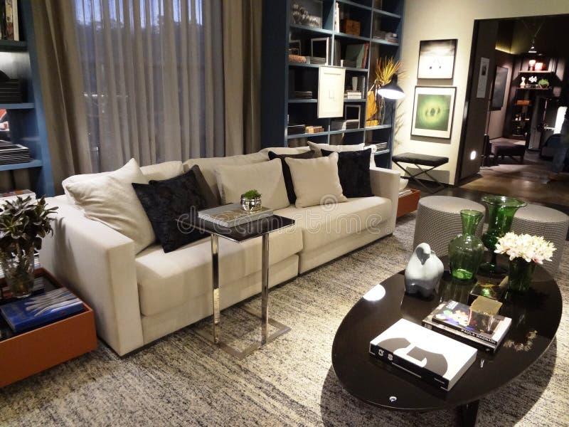 Contemporary living room interior stock image
