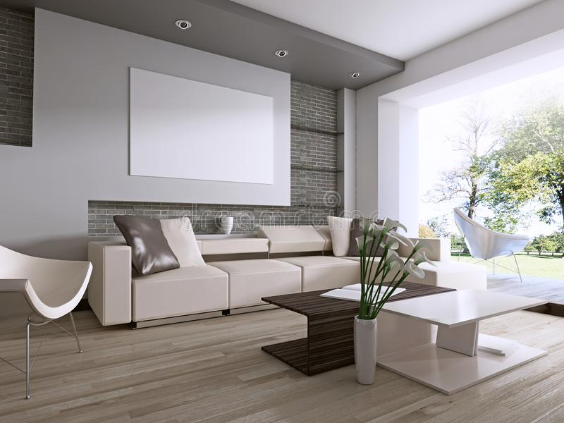 Contemporary living room with large window overlooking the backyard. 3D rendering stock illustration