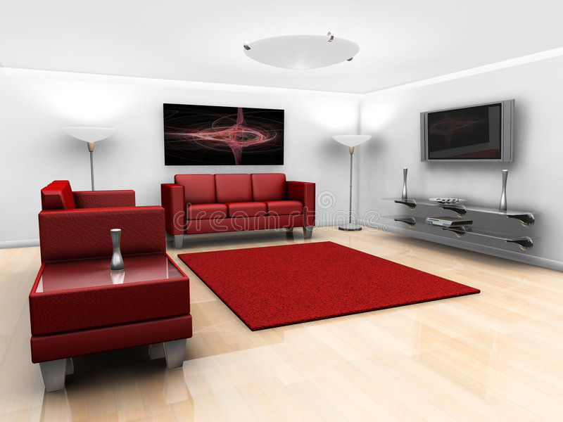 Contemporary lounge. 3D render of a contemporary styled minimalistic lounge with furniture vector illustration