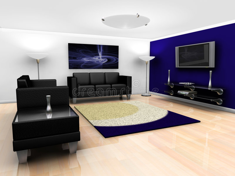 Contemporary lounge interior royalty free illustration