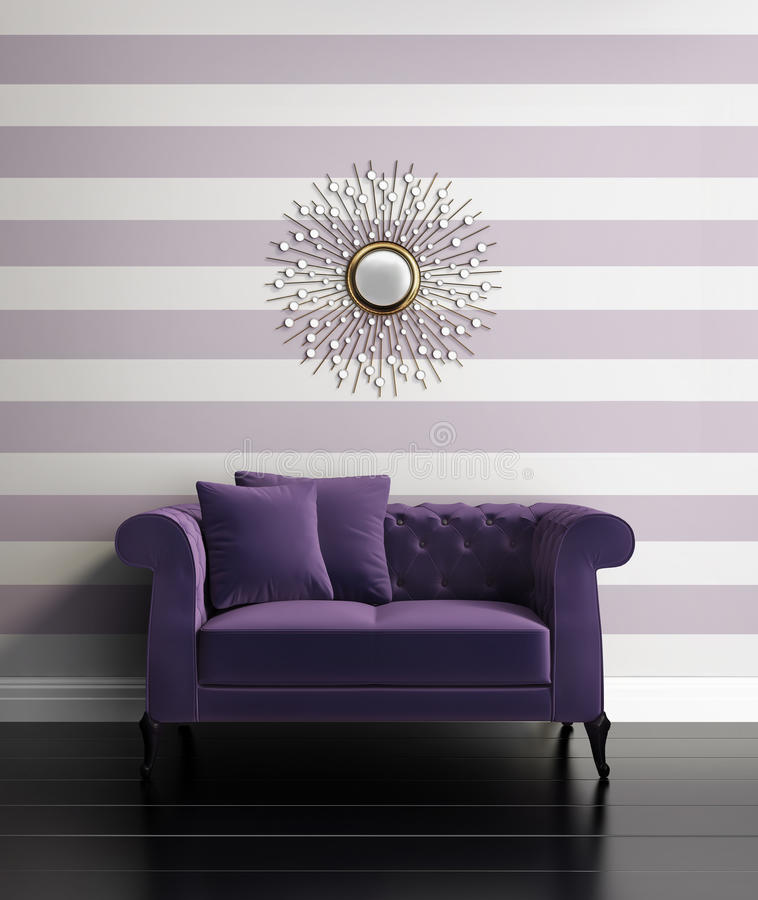 Contemporary luxury hallway with purple stripes vector illustration