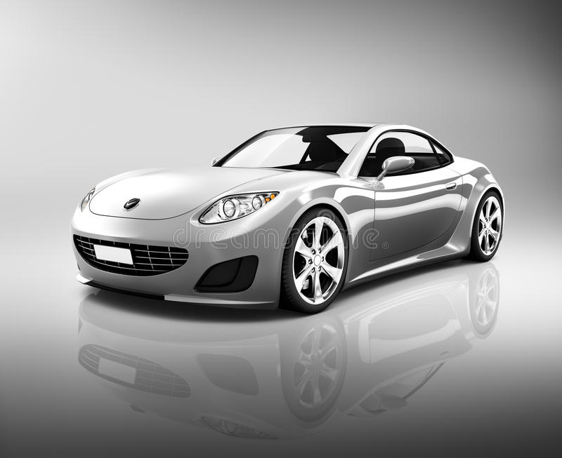 Contemporary Luxury Silver Sports Car stock illustration