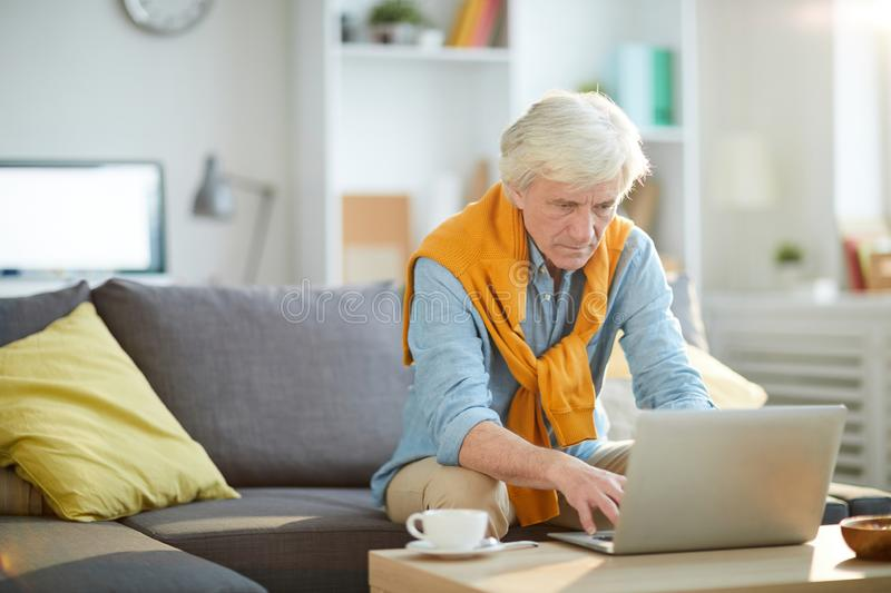 Contemporary Mature Person Using Laptop stock image