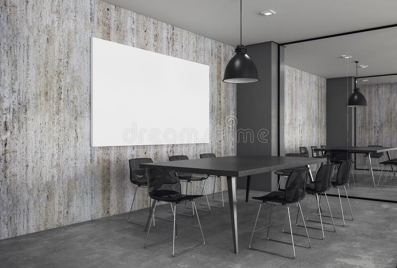 Contemporary meeting room with blank poster stock photo