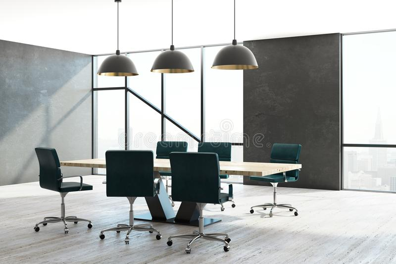 Contemporary meeting room. Interior with furniture and city view with daylight. Workplace and style concept. 3D Rendering vector illustration