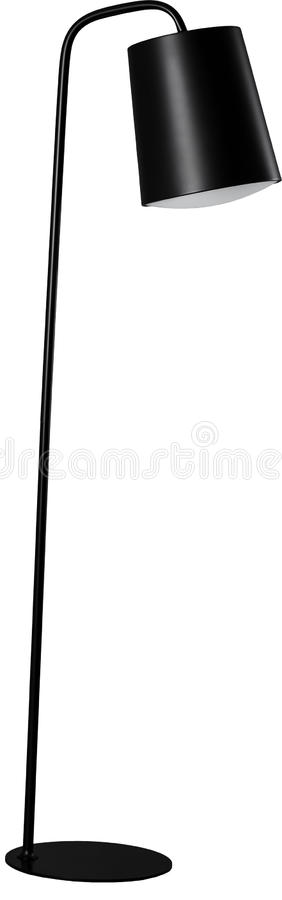 Contemporary metallic and black floor lamp isolated on white background.  royalty free stock photos
