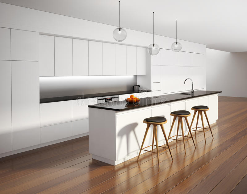 Contemporary minimal white kitchen with black details. And wood floor royalty free stock photos