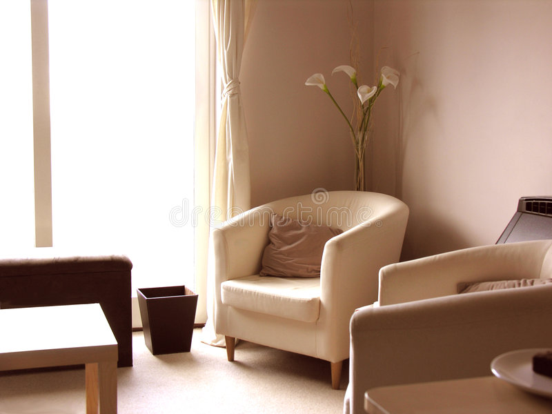Contemporary Modern Lounge With Lilies stock photos