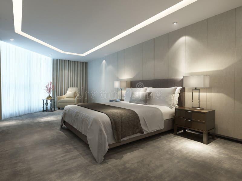 Contemporary modern luxury hotel bedroom royalty free illustration