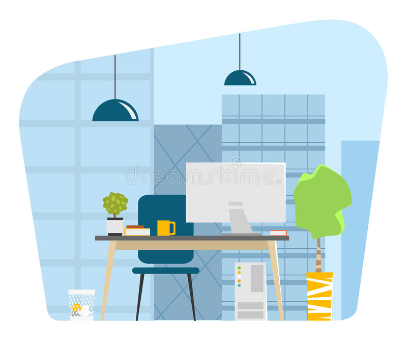 Contemporary modern office workplace big window skyscrapers stock illustration