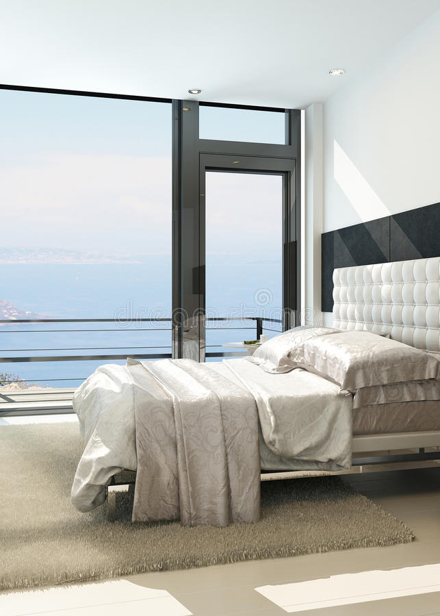 Contemporary modern sunny bedroom interior with huge windows royalty free illustration