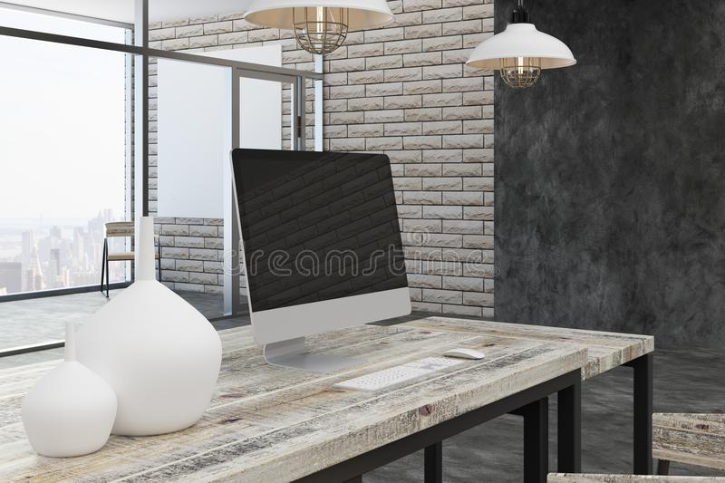 Contemporary office with city view. Contemporary office interior with blank computer, other items on desk and bright city view. Mock up, 3D Rendering vector illustration
