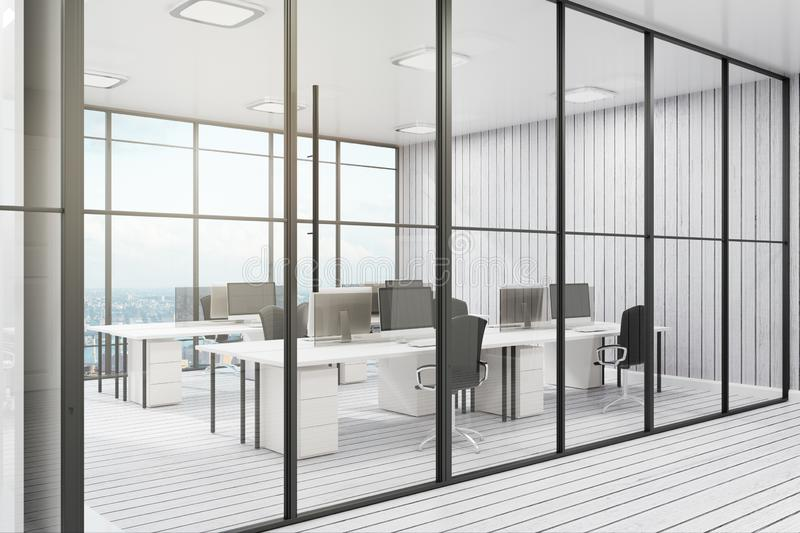 Contemporary office with city view. Contemporary coworking office interior with city view, furniture and daylight. 3D Rendering royalty free illustration