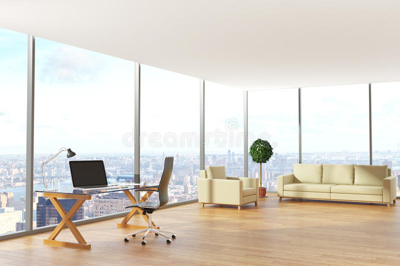Contemporary office with city view. Contemporary office interior with workplace, lounge area and city view. 3D Rendering vector illustration