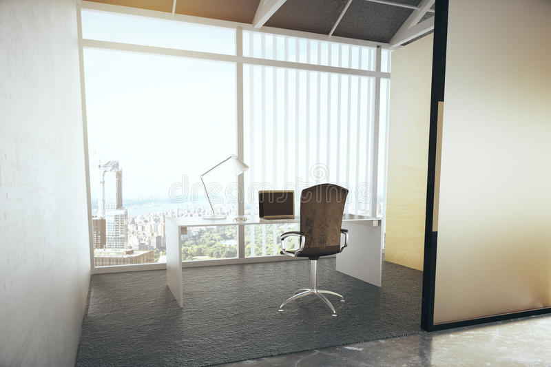 Contemporary office interior with city view. 3D Rendering royalty free illustration