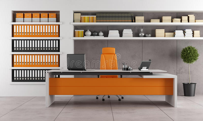 Contemporary office. With orange executive desk vector illustration