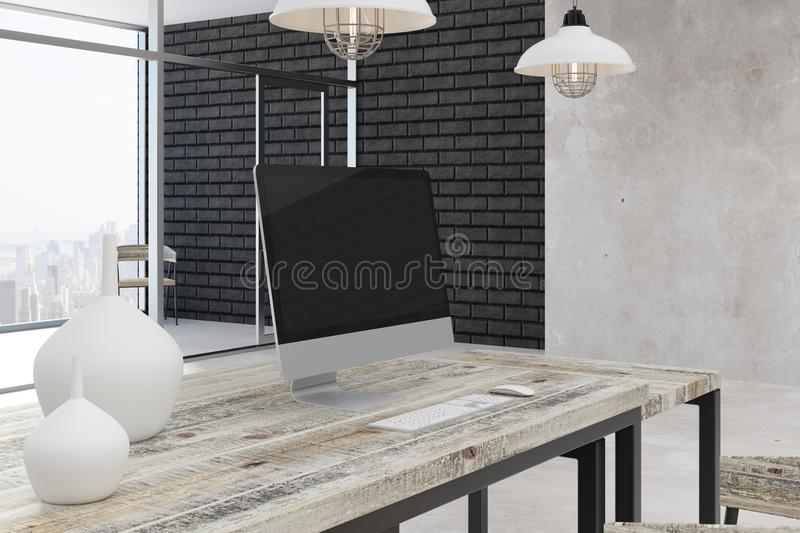Contemporary office room with city view. Contemporary office room interior with blank computer, other items on desk and bright city view. Mock up, 3D Rendering vector illustration