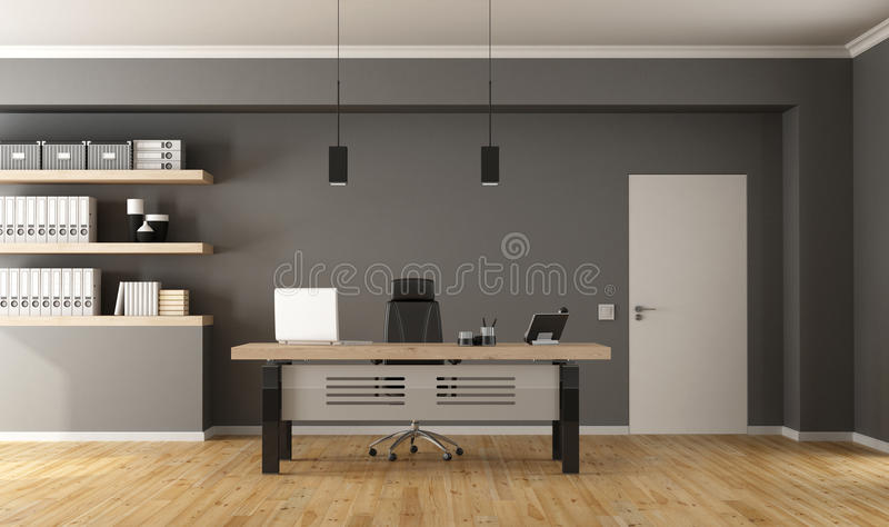 Contemporary office room. Contemporary office with minimalist desk,closed door and shelves with binder - 3d Rendering stock illustration