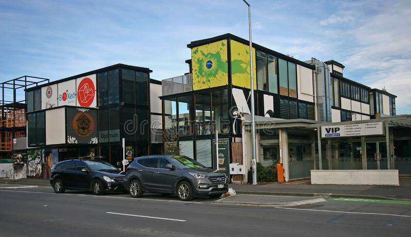 Contemporary outdoor retail project of Boxed Quarter on the street in Christchurch, New Zealand stock image