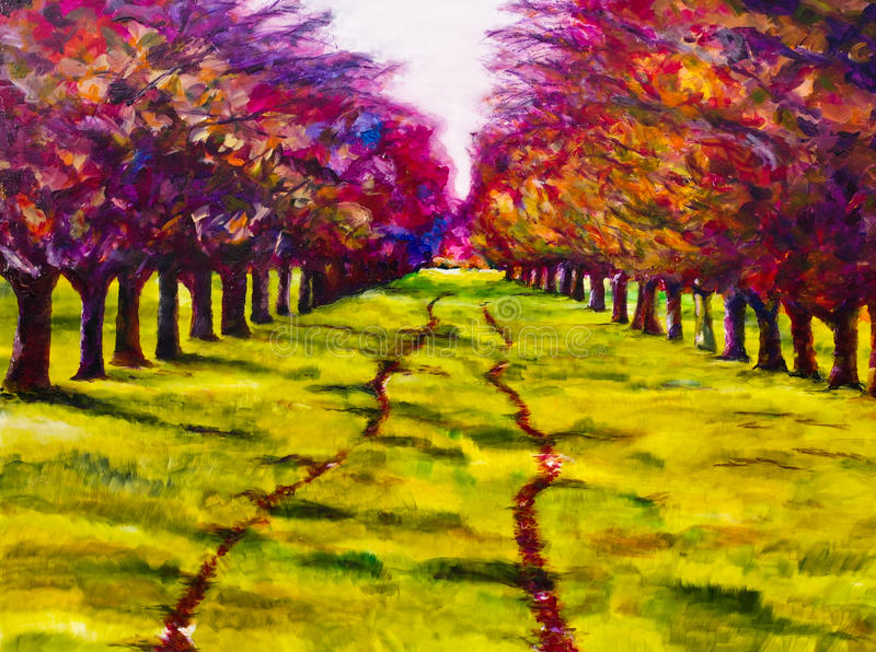Contemporary painting of a path through a line of trees. royalty free illustration
