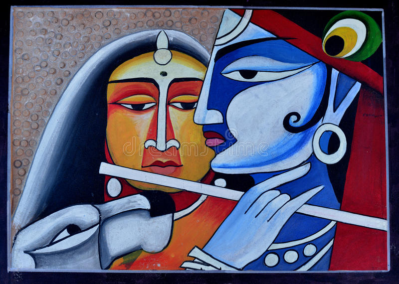 Contemporary Painting of Radha Krishna. A beautiful colourful contemporary painting of lord Krishna and Radha in bright colours. It is handmade painting of royalty free illustration