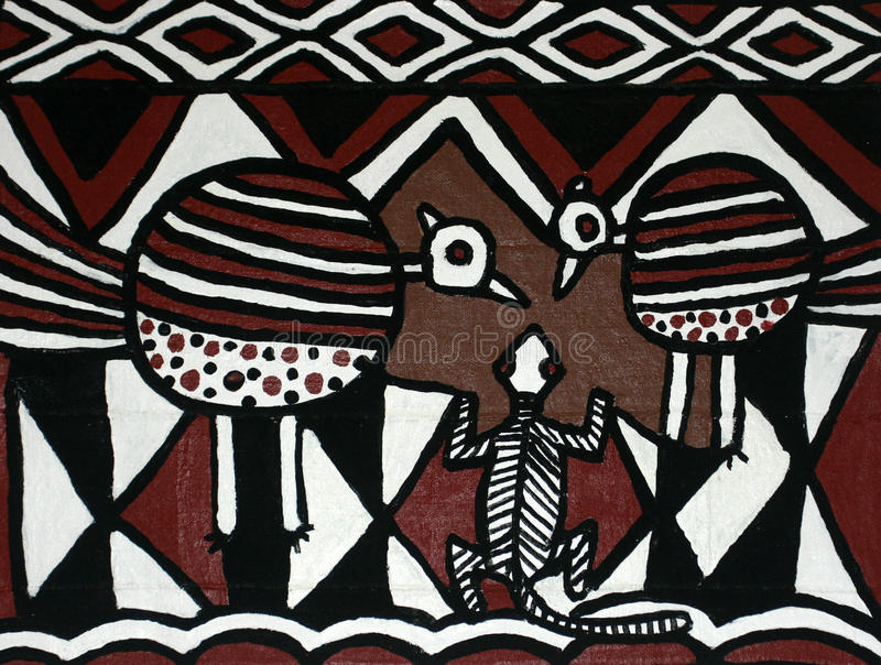 Contemporary painting of traditional African designs stock photos
