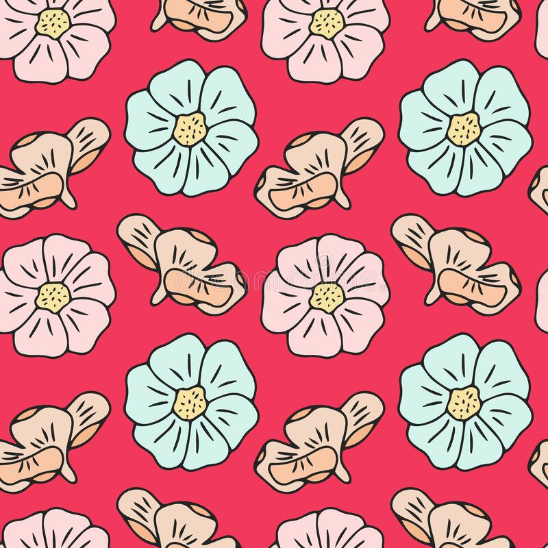 Free Contemporary Print Cartoon Floral Seamless Pattern, Great Design For Cover, Poster, Paper, Fabric. Isolated Vector. The Royalty Free Stock Image - 217760526