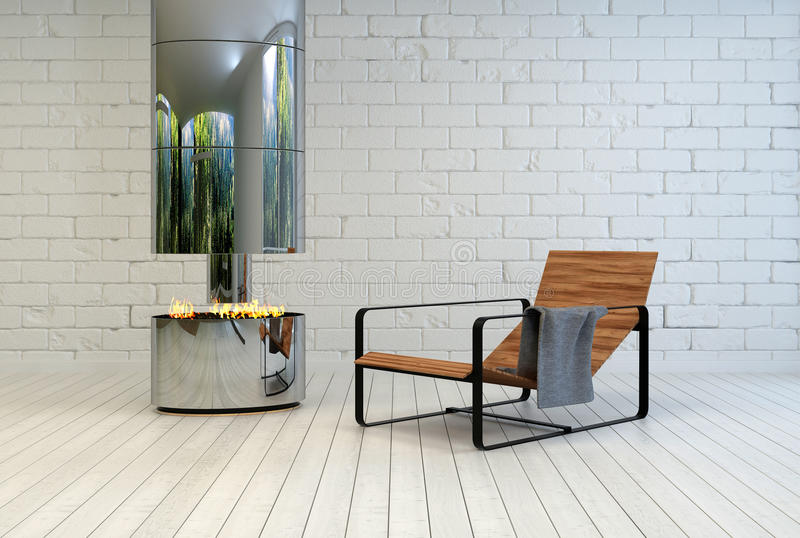 Contemporary recliner chair near an open fire. Contemporary wooden slatted metal recliner chair near an open stainless steel chimney and fire in a white painted vector illustration