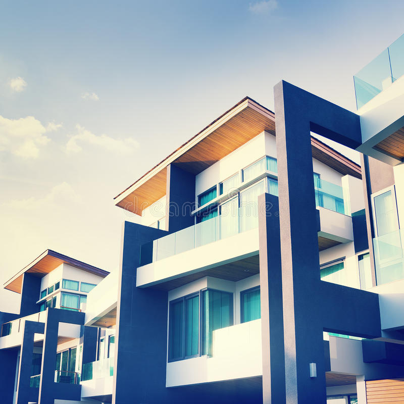 Contemporary Residential Building Exterior in the Daylight.  royalty free stock photography