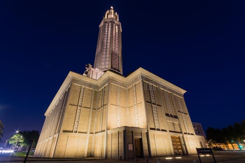 Contemporary Saint Joseph church Le Havre France. At night stock photos