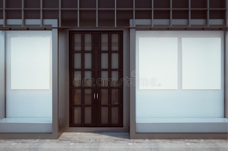 Contemporary shopfront with blank billboard. Contemporary glass shopfront with blank billboard. Retail and commerce concept. Mock up, 3D Rendering stock illustration