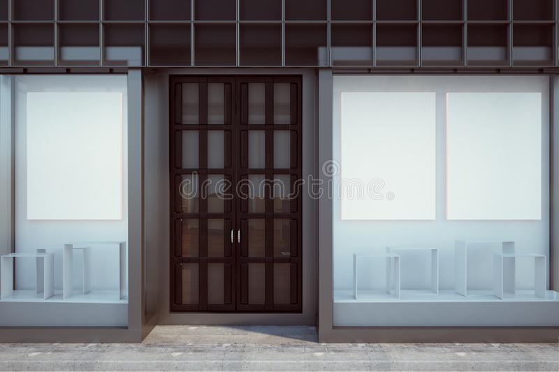 Contemporary shopfront with blank poster. Contemporary glass shopfront with blank poster. Retail and commerce concept. Mock up, 3D Rendering vector illustration
