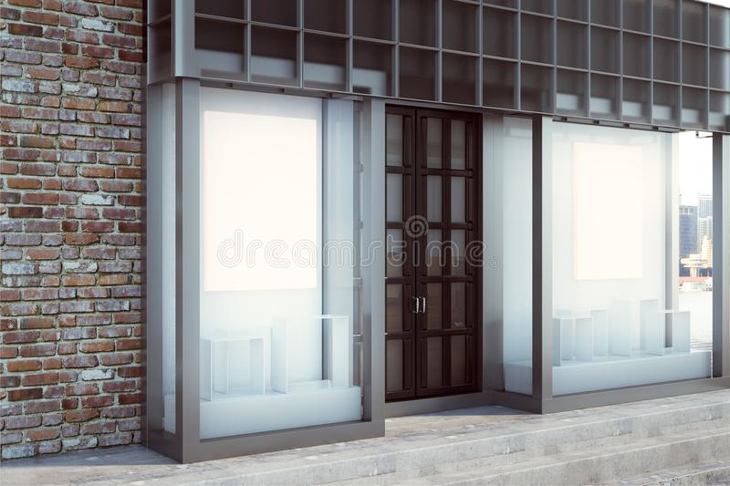 Contemporary shopfront with empty banner. Contemporary glass shopfront with empty banner. Retail and commerce concept. Mock up, 3D Rendering stock illustration