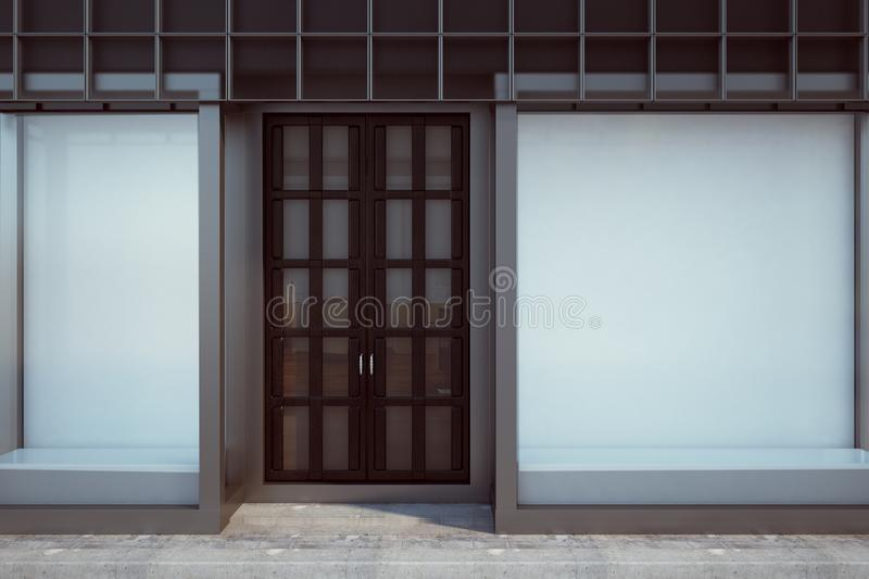 Contemporary shopfront with empty billboard. Contemporary glass shopfront with empty billboard. Retail and commerce concept. Mock up, 3D Rendering royalty free illustration