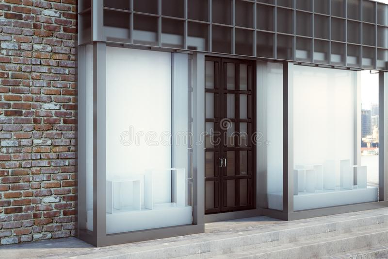 Contemporary shopfront with empty poster. Contemporary glass shopfront with empty poster. Retail and commerce concept. Mock up, 3D Rendering royalty free illustration