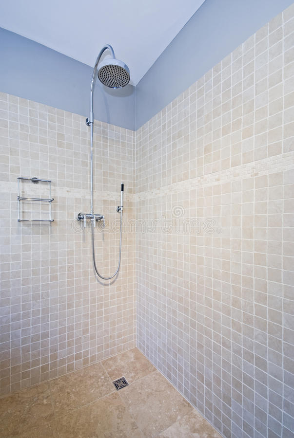 Download Contemporary Shower With Natural Stone Tiles Stock Image   Image  Of Modern, Contemporary: