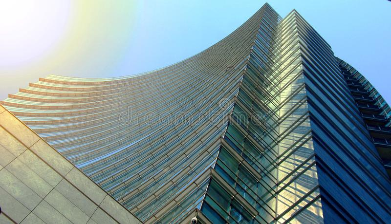 Contemporary skyscraper glass building for background usage. Abstract architectural background royalty free stock photography