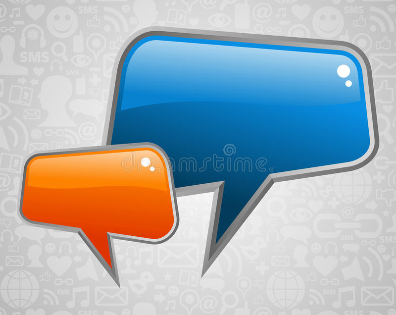 Contemporary social media bubbles. Glossy social media speech bubbles with icons background. Vector file layered for easy manipulation and custom coloring vector illustration