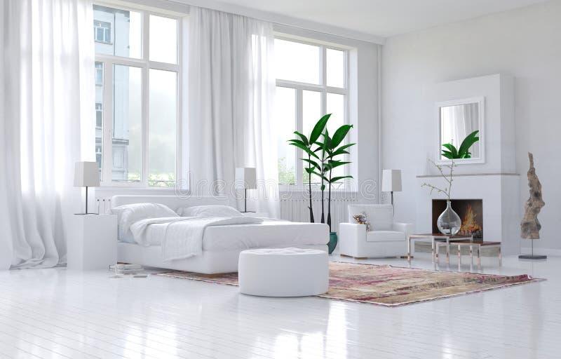 Contemporary spacious white bedroom interior vector illustration