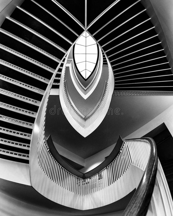 Contemporary staircase. Staircase at the Museum of Contemporary Art (MCA) in Chicago, Illinois royalty free stock photo