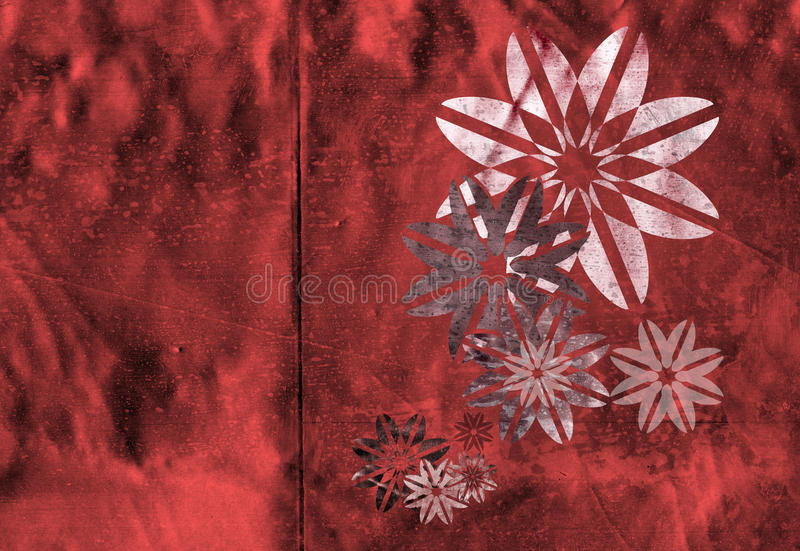 Contemporary stencil in red. Metallic geometric flowers made to wrap by aligning the seam to the fold stock illustration
