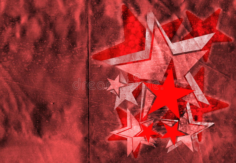Contemporary stencil on red. Metallic geometric stars made to wrap by aligning the seam to the fold stock illustration