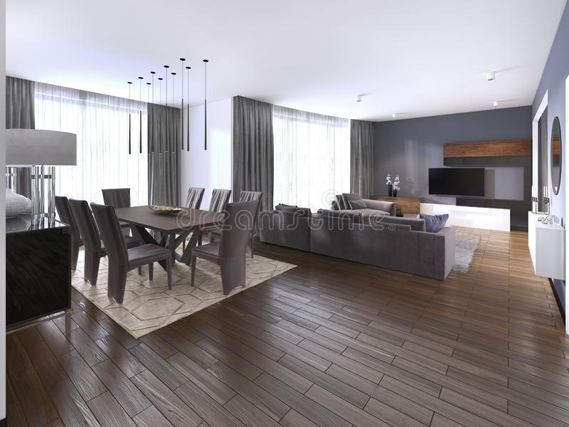Contemporary studio apartment and kitchen in open space modern interior. 3d rendering royalty free illustration