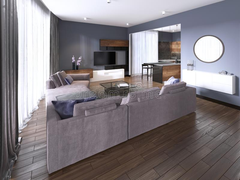 Contemporary studio apartment and kitchen in open space modern interior. 3d rendering vector illustration