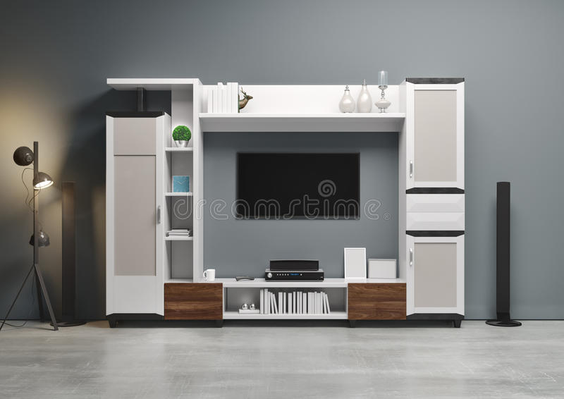 Contemporary style, home audio system with TV and shelves in the living room. Wood furniture with decorative panels. 3D illustration royalty free stock images