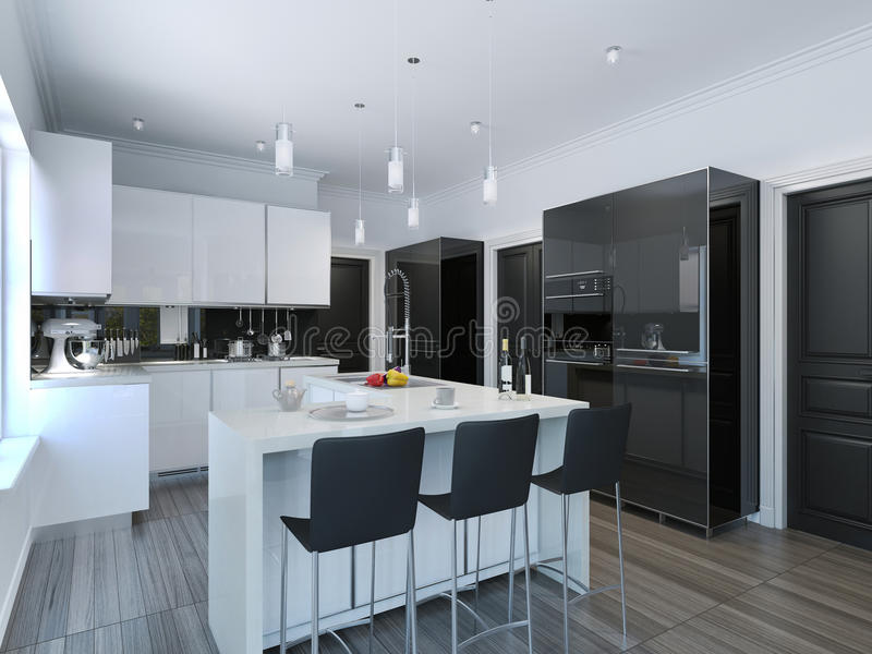 Contemporary style kitchen bar royalty free illustration