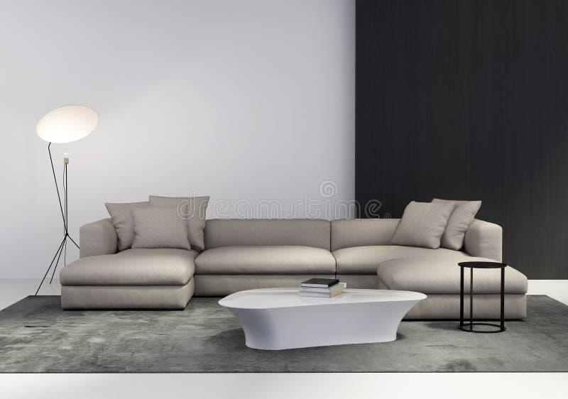 Contemporary stylish living room stock photo