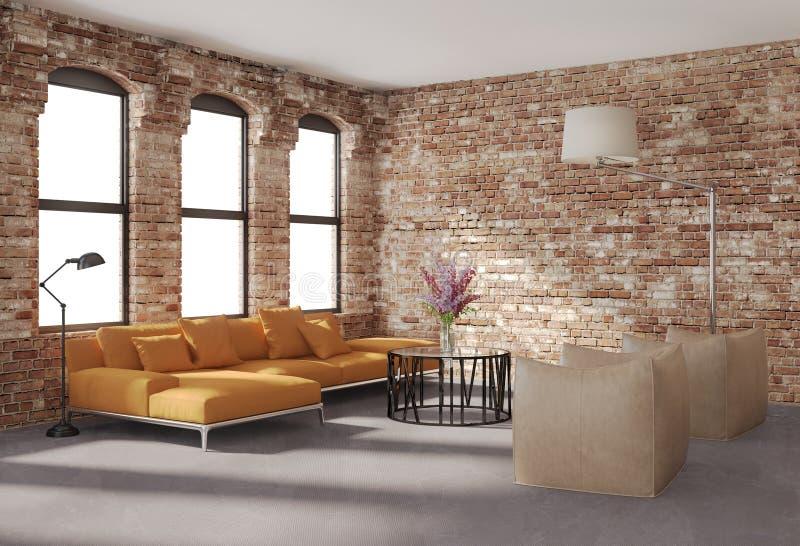 Contemporary stylish loft interior, brick walls, orange sofa. Contemporary stylish loft interior with brick walls, an orange sofaand two beige leather armchairs stock photos