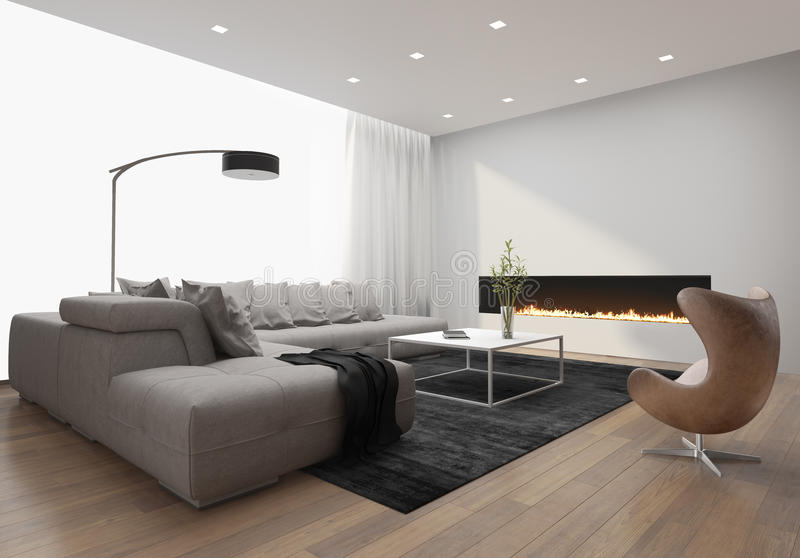 Contemporary stylish loft interior, with modern fireplace. Contemporary stylish loft interior with modern fireplace, and a grey sofa royalty free illustration