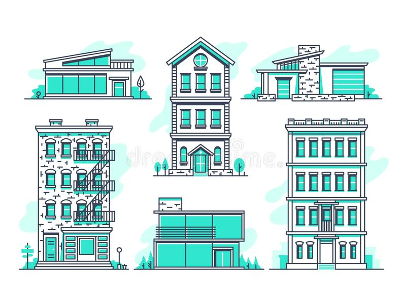 Contemporary Urban And Suburban Houses Line Icons Set Real Estate